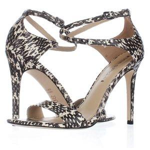 Via Spiga Tiara Black & White Snakeskin Heels